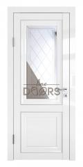 Дверь межкомнатная DO-PG2 Белый глянец/Зеркало ромб фацет