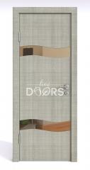 Дверь межкомнатная DO-503 Серый дуб/зеркало Бронза