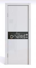 Дверь межкомнатная DO-509 Белый глянец/стекло Черное