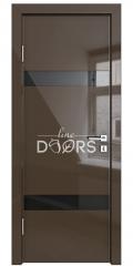 Дверь межкомнатная DO-502 Шоколад глянец/стекло Черное