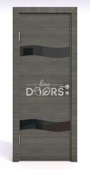 Дверь межкомнатная DO-503 Ольха темная/стекло Черное