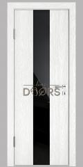 Дверь межкомнатная DO-510 Белый глубокий/стекло Черное