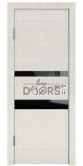 Дверь межкомнатная DO-512 Ива светлая/стекло Черное