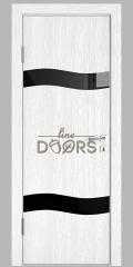 Дверь межкомнатная DO-503 Белый глубокий/стекло Черное
