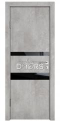 Дверь межкомнатная DO-512 Бетон светлый/стекло Черное