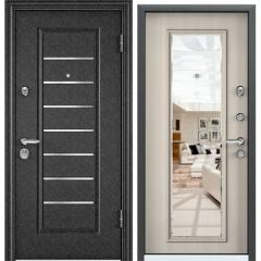 Дверь TOREX SUPER OMEGA 10 Черный шелк / Белый перламутр с зеркалом