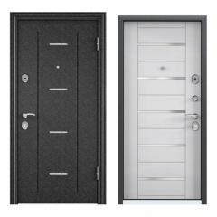 Дверь TOREX DELTA-M 12 COMBO Черный шелк / Вельвет белый поперечный