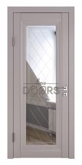 Дверь межкомнатная DO-PG6 Серый бархат/Зеркало ромб фацет