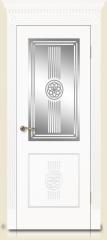 Дверь мебель массив Мадрид 1 Эмаль белая Витраж Алмазная гравировка № 12