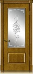 Дверь мебель массив Верона О Витраж Алмазная гравировка 2 (Золотой дуб)
