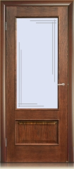 Дверь мебель массив Верона О Витраж (Коньячный дуб)