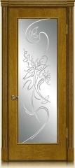 Дверь мебель массив Виченца О Витраж Вензель №1 (Золотой дуб)