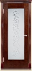 Дверь мебель массив Виченца О заливной витраж (Коньячный дуб)