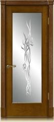 Дверь мебель массив Виченца О Витраж Пескоструйный №1 (Светлый дуб)