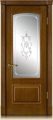 Дверь мебель массив Венеция О Витраж Вензель №1 (Золотой дуб)