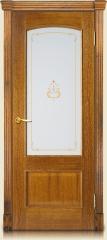Дверь мебель массив Венеция О витраж с цветной УФ-печатью (Светлый дуб)