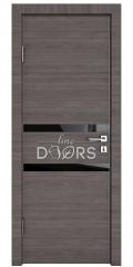 Дверь межкомнатная DO-513 Ольха темная/стекло Черное