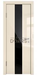 ШИ дверь DO-610 Ваниль глянец/стекло Черное