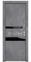 Дверь межкомнатная DO-512 Бетон темный/стекло Черное