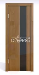 Дверь межкомнатная DO-504 Анегри темный/стекло Черное