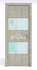 ШИ дверь DO-608 Серый дуб/стекло Белое