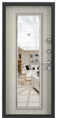 Дверь TOREX SUPER OMEGA 100 Черный муар металлик / Белый перламутр
