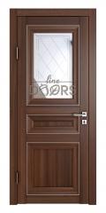 Дверь межкомнатная DO-PG4 Орех тисненый/Зеркало ромб фацет