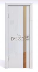 ШИ дверь DO-607 Белый глянец/зеркало Бронза