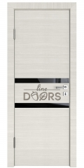 Дверь межкомнатная DO-513 Ива светлая/стекло Черное