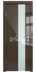 Дверь межкомнатная DO-504 Шоколад глянец/стекло Белое