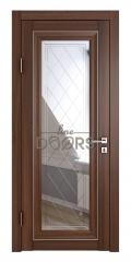 Дверь межкомнатная DO-PG6 Орех тисненый/Зеркало ромб фацет