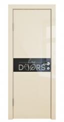 Дверь межкомнатная DO-509 Ваниль глянец/стекло Черное