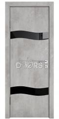 Дверь межкомнатная DO-503 Бетон светлый/стекло Черное