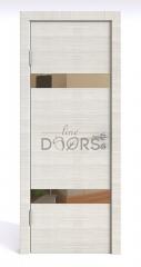 Дверь межкомнатная DO-502 Ива светлая/зеркало Бронза