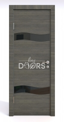ШИ дверь DO-603 Ольха темная/стекло Черное