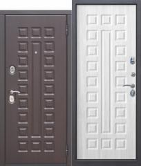Входная металлическая дверь Ferroni 10 см МОНАРХ МДФ/МДФ Белый ясень с МДФ панелями