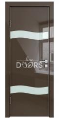 Дверь межкомнатная DO-503 Шоколад глянец/стекло Белое