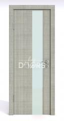 ШИ дверь DO-604 Серый дуб/стекло Белое