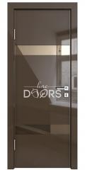 Дверь межкомнатная DO-502 Шоколад глянец/зеркало Бронза
