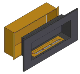 Теплоизоляционный корпус для встраивания в мебель для очага 2000 мм