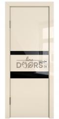 Дверь межкомнатная DO-512 Ваниль глянец/стекло Черное