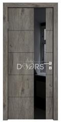 Дверь межкомнатная TL-DO-504 Серый кедр/стекло Черное