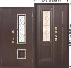 Входная металлическая нестандартная дверь Ferroni со стеклопакетом Венеция 1200 Венге