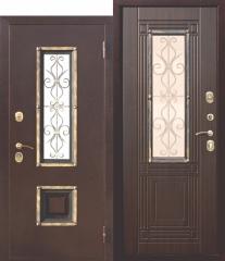 Входная металлическая дверь Ferroni со стеклопакетом Венеция Венге