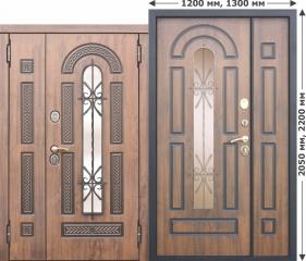 Входная металлическая дверь Ferroni со стеклопакетом и ковкой Vikont 1200/1300х2050