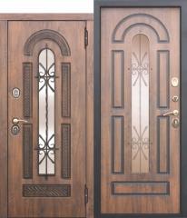 Входная металлическая дверь Ferroni со стеклопакетом и ковкой Vikont
