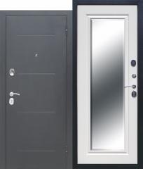 Дверь Ferroni 7,5 см GARDA Серебро Зеркало Фацет Белый ясень
