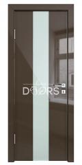 Дверь межкомнатная DO-510 Шоколад глянец/стекло Белое